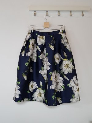QED London Taffeta Skirt white-blue
