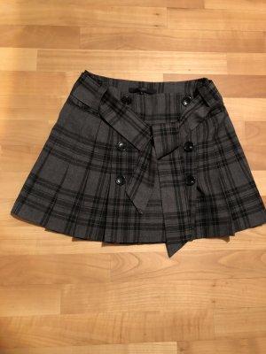 Hallhuber basic Plaid Skirt black-silver-colored mixture fibre