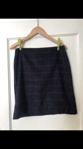 Hallhuber Wollen rok donkerblauw-bordeaux