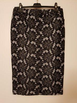 Heine Falda de encaje blanco-negro