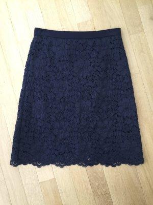 René Lezard Midi Skirt dark blue