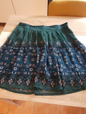 Zero Falda de talle alto azul oscuro-verde bosque