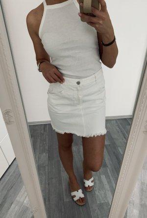 Mango Fringed Skirt white