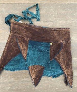 Ohne Jupe portefeuille brun foncé-bleu cadet coton