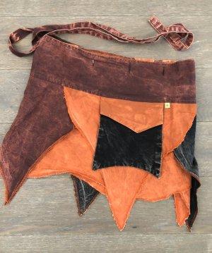 Rock Wickelrock Überrock Baumwolle stonewashed braunrot orange schwarz Gr.S-XL