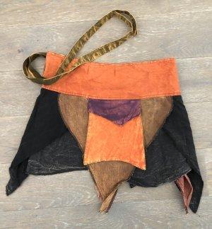 Rock Wickelrock Überrock Baumwolle stonewashed orange braunviolett schwarz Gr.S-XL