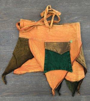 Rock Wickelrock Überrock Baumwolle stonewashed orange waldgrün graugrün Gr.S-XL