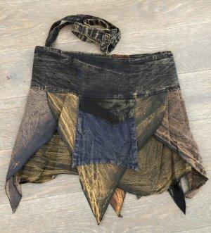 Rock Wickelrock Überrock Baumwolle stonewashed schwarz blau graugrün Gr. S-XL