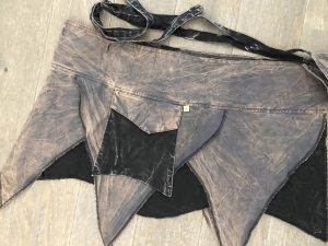 Rock Wickelrock Überrock grau schwarz stonewashed Baumwolle S-XL