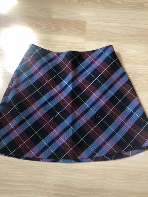 Zara Rozkloszowana spódnica czarny-niebieski