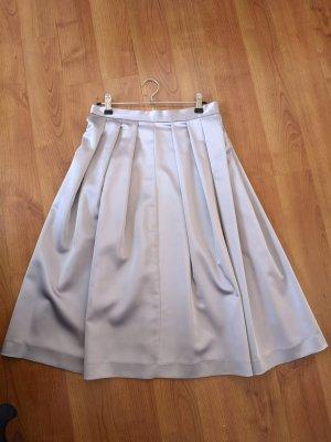 Zara Basic Plisowana spódnica jasnoszary Tkanina z mieszanych włókien