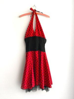 Vestido de cuello Halter negro-rojo