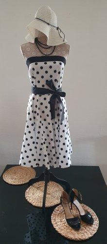 Sukienka z halką biały-czarny