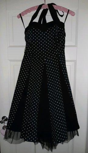 Rockabilly Kleid schwarz weiß gepunktet Neckholder retro vintage polkadots Gr. S