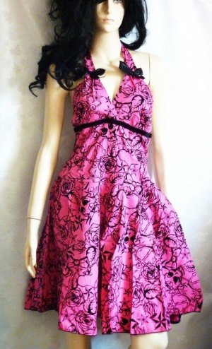 Rockabilly Kleid Sommerkleid Skull Anker Rosen Sterne pink schwarz Gr 38