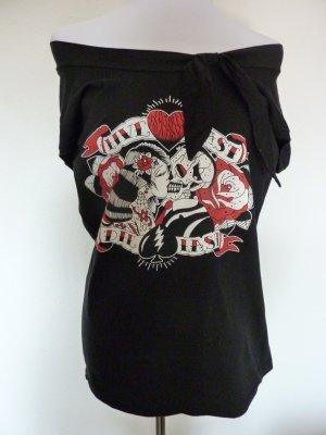 Rockabilly Live fast Die Last Love Rosen Shirt 38 40 neu
