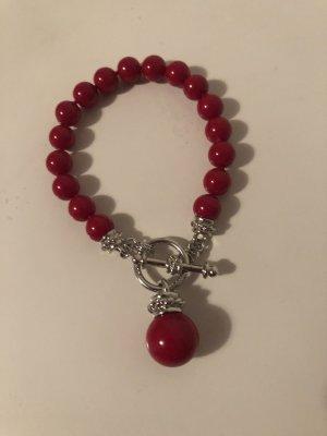 Bracelet en perles argenté-rouge