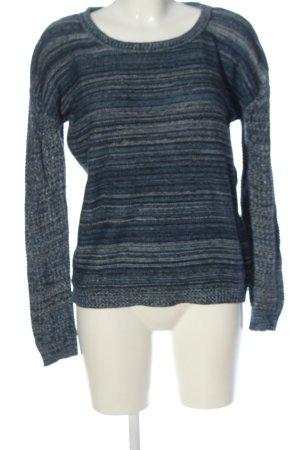 Rockamora Maglione lavorato a maglia blu-nero motivo a righe stile casual