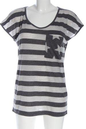 rockewitter T-shirt rayé blanc-gris clair moucheté style décontracté