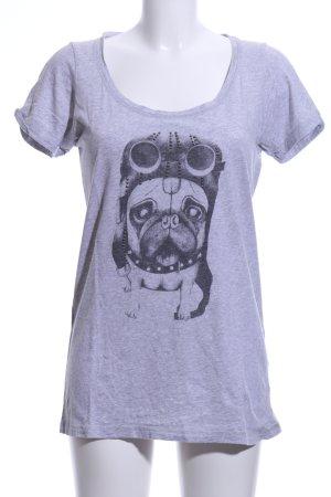 Rockgewitter Print-Shirt hellgrau meliert Casual-Look