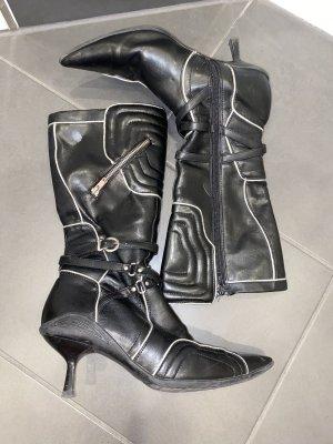 Graceland Gotyckie buty czarny-srebrny