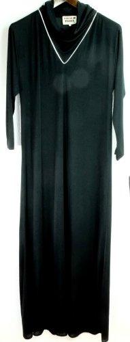 Rodier Paris Abendkleid Gr. 40 schwarz lang Festkleid Designer Fashion Zierborde silber