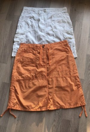 Cargo Skirt white-orange