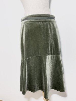 KRISS Spódnica z godetami zielono-szary Aksamit