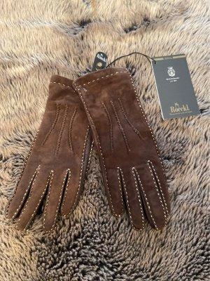 Roeckl Guantes de cuero marrón oscuro Cuero