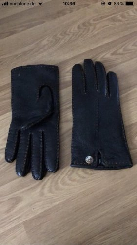 Roeckl Leather Gloves black brown-dark brown
