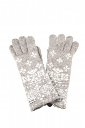 Roeckl Gloves light grey-white graphic pattern casual look