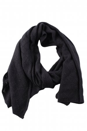 Roeckl Crochet Scarf black-silver-colored casual look