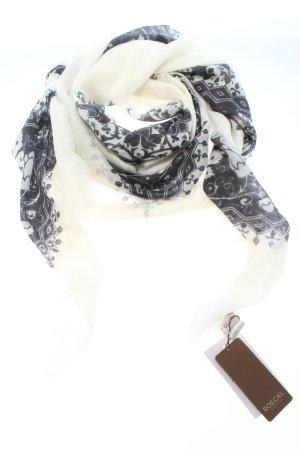 Roeckl Bufanda de cachemir blanco puro-negro estampado floral look casual