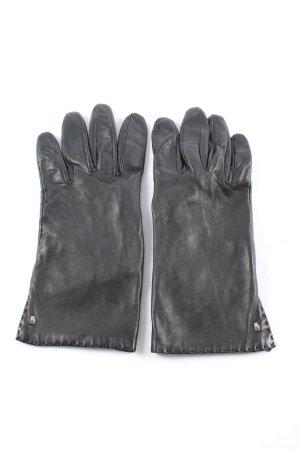Roeckl Lederhandschuhe schwarz Schriftzug gedruckt Casual-Look