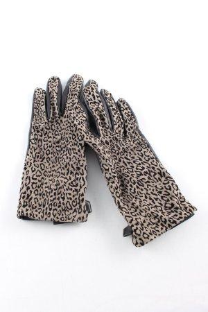 Roeckl Lederhandschuhe schwarz-hellgrau Animalmuster Casual-Look