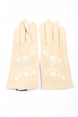 Roeckl Leather Gloves nude flower pattern casual look
