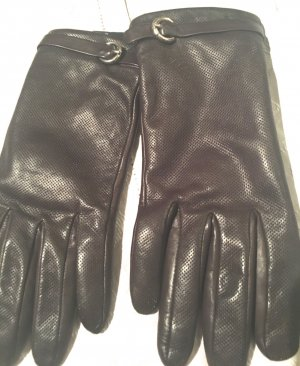 Roeckl Leather Gloves dark brown-gold-colored leather