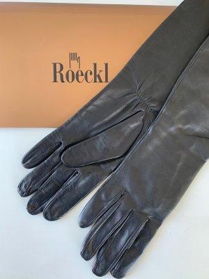 Roeckl Guantes de cuero negro Cuero