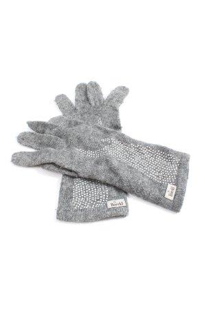 Roeckl Guanto in maglia grigio chiaro-bianco motivo a pallini stile casual
