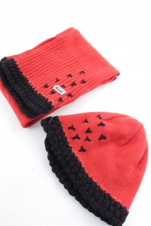 Roeckl Bufanda de lana negro-rojo look casual