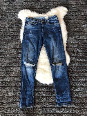 H&M Tube jeans donkerblauw-blauw