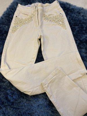 Röhren Jeans von Madeleine, mit Perlenbesatz, Gr. S in Creme /offwhite