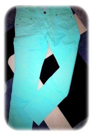 Spodnie rurki jasnoniebieski-turkusowy Bawełna