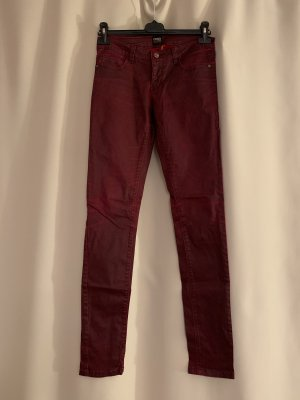 Röhrenhose figurbetohnte Jeans Baumwolle Hose 26 34 36 S Bordeaux