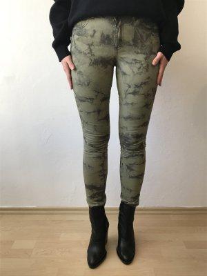 Vila Pantalón de tubo verde oscuro-gris verdoso Algodón