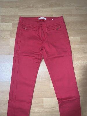 Zara Pantalón tobillero rojo neón-rojo ladrillo