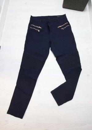 Pantalone a sigaretta blu scuro-color oro rosa