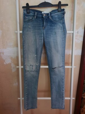 Röhrenjeans Designerjeans Hose Destroyed Löcher Jeggings