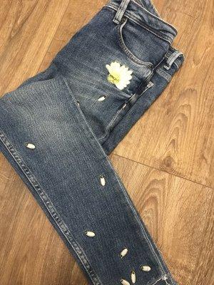 Zara Jeans cigarette blanc-jaune