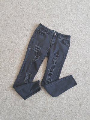 Röhrenjeans Ripped Skinny High Waist Ankle Jeans Gr. 36 Mango dunkel grau